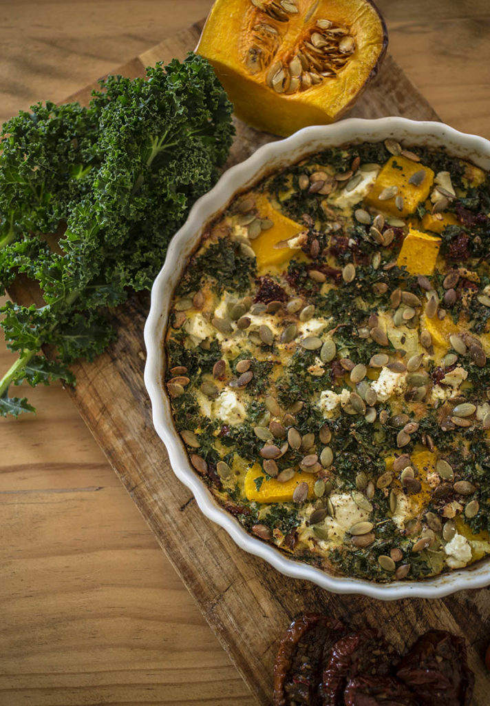 Butternut Squash, Kale and Sundried Tomato Crustless Quiche. Grain free, gluten free and dairy free.