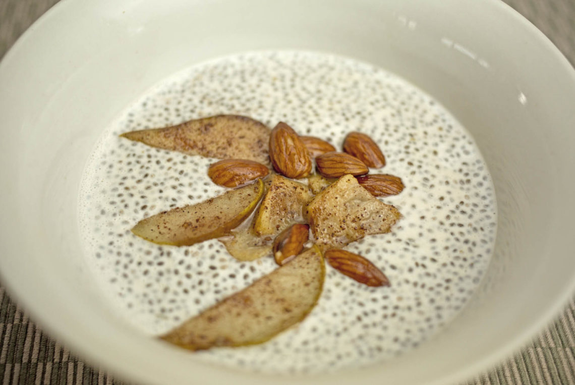 chia seed porridge with cinnamon pears and feijoas love food nourish