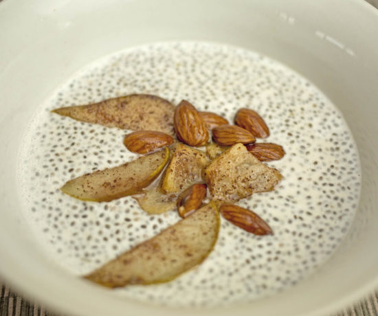 Chia Seed Porridge with Cinnamon Pears, Feijoas and Almonds