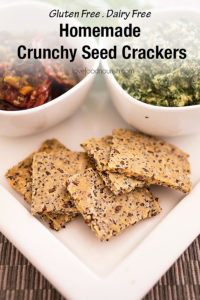 These crunchy homemade seed crackers are quick and easy to make with only a handful of ingredients. These crackers go perfectly with your favourite dip, pesto or can be enjoyed with your favourite topping as a healthy snack. #crackers #glutenfreebaking #glutenfreerecipes #glutenfree #healthyrecipes #lunchboxideas #healthykids #healthykidssnack