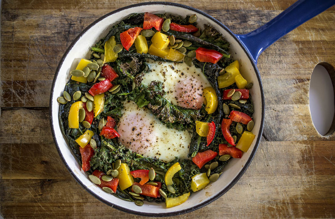 Baked Eggs, Kale, Capsicum and Pumpkin Seeds - Paleo Breakfast