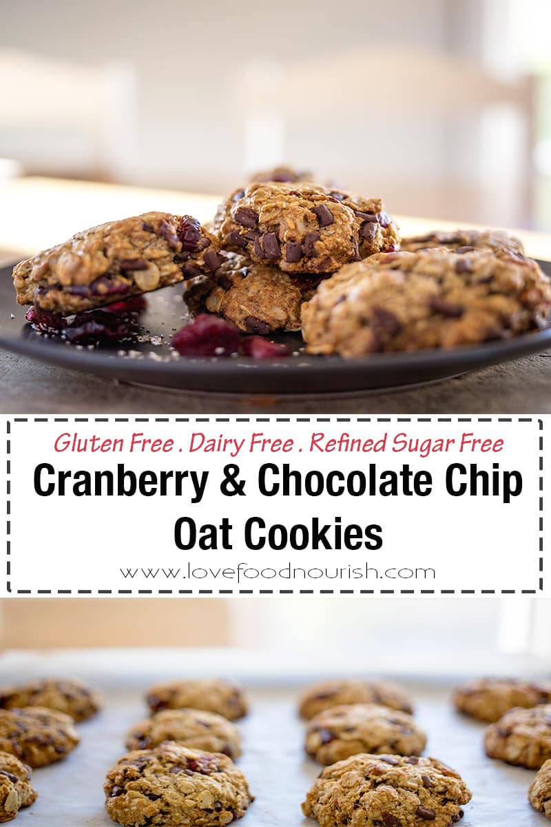 You will love these tasty oat cookies with their blend of cranberry and cacao chips and their moreish chewy texture. These cookies are a healthy version of the traditional chocolate chip cookie! Perfect to enjoy with a cup of tea or to make as a gluten free Christmas cookie! #oatcookies #glutenfreebaking #healthyrecipes #healthysnacks #cookies #christmascookies #glutenfree #dairyfree #glutenfreechristmas