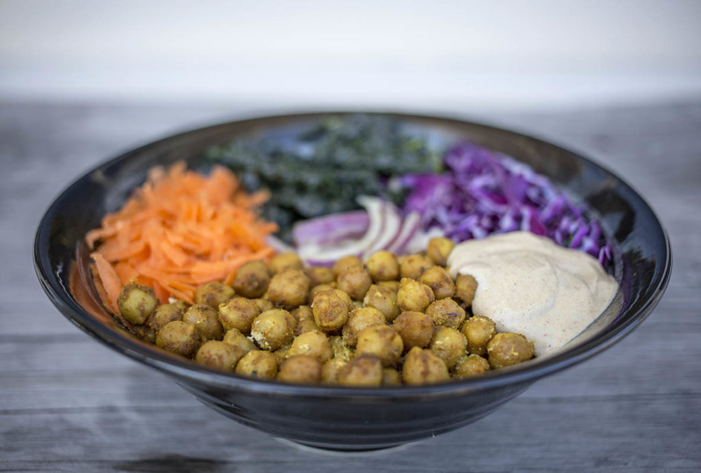 Detox Buddha Bowl with Spicy Chickpeas and Cumin Cashew Sauce - Dairy Free & Vegan