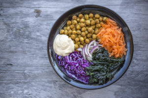 Detox Buddha Bowl with Spicy Chickpeas and Cumin Cashew Sauce - An antioxidant rich salad that is with delicious spicy chickpeas and a creamy cumin cashew sauce. Gluten free, dairy free, vegan.