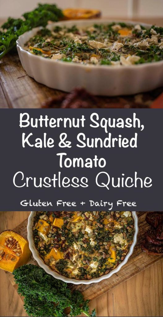 Butternut Squash, Kale & Sundried Tomato Crustless Quiche. The perfect light lunch or dinner. Grain Free, Gluten Free & Dairy Free.