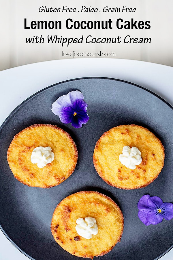 These mini lemon coconut cakes with whipped coconut cream are the perfect little treat! They are so simple to make and can be whipped up pretty quickly. Paleo, gluten free, grain free and dairy free. #glutenfreerecipes #grainfree #lemoncake #paleodessert #dairyfree #paleo #glutenfree