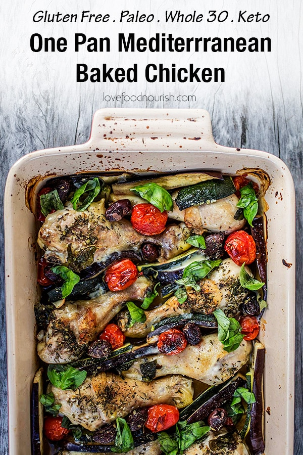 One Pan Mediterranean Chicken. If you love Mediterranean flavours you will love this healthy baked chicken dish that is full of flavour. A healthy and tasty dinner that is suitable for the whole family. #Glutenfree #glutenfreemain #glutenfreedinner #paleo #paleodinner #paleodinner #onedish #onepanchicken #chicken #cleaneatingdinner #mediterraneanchicken #bakedchicken #whole30 #whole30dinner #ketodinner #ketorecipes #ketochicken