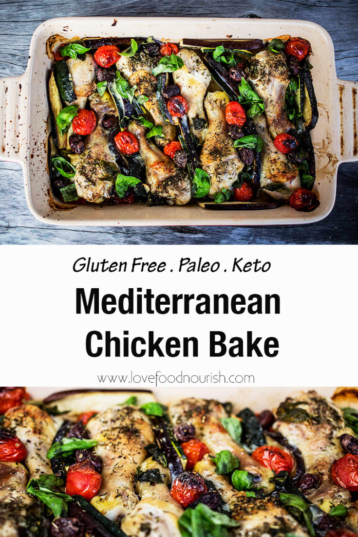 A rustic style chicken dinner full of Mediterranean flavours. Succulent marinated chicken with Mediterranean style produce all cooked in the one dish. Paleo, Keto, Gluten Free.