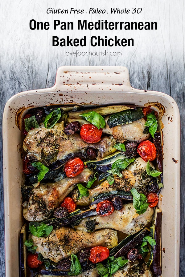 One Pan Mediterranean Chicken. If you love Mediterranean flavours you will love this healthy baked chicken dish that is full of flavour. A healthy and tasty dinner that is suitable for the whole family. #Glutenfree #glutenfreemain #glutenfreedinner #paleo #paleodinner #paleodinner #onedish #onepanchicken #chicken #cleaneatingdinner #mediterraneanchicken #bakedchicken #whole30 #whole30dinner