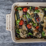 Mediterranean Baked Chicken with Eggplant, Zucchini, Tomato, Olives & Basil
