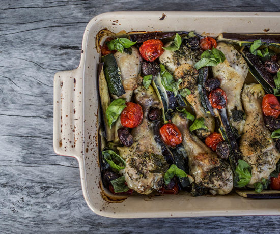 Meditteranean baked chicken with eggplant,zucchini, tomato, olives and basil - So easy and delicious, all baked in the one dish, a quick and easy dinner that will impress