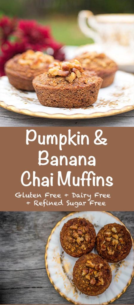 Pumpkin & Banana Chai Breakfast Muffins. You will love these healthy muffins with the sweetness of pumpkin, banana and warming chai spices. Gluten free, sugar free and dairy free. Enjoy as a healthy sweet treat or as something different for breakfast.