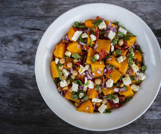 Roasted Pumpkin Salad with Chickpeas, Sundried Tomato and Goats Feta - A delicious salad that is satisfying and suitable for the whole family. Gluten Free & Vegan Option.