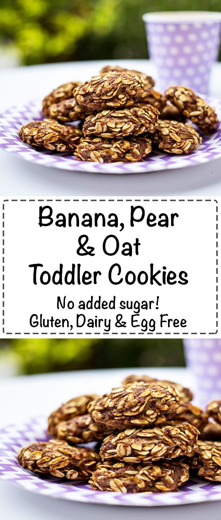 Banana, Pear & Oat Toddler Cookies. No added sugar or sweetener. Healthy, easy, allergy friendly and your toddlers will love them! #glutenfree #sugarfree #glutenfreecookies #dairyfree #eggfree #vegan #glutenfreebaking #eggfreebaking