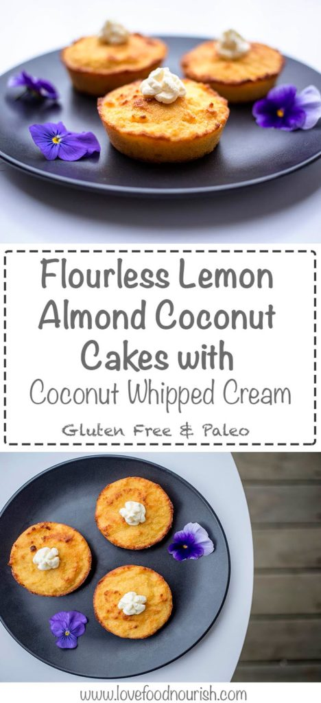 Flourless lemon almond coconut cakes whith whipped coconut cream. These divine little cakes are the perfect treat to have for morning tea or dessert. Moist and not too sweet with a refreshing citrus flavour. Gluten free, grain free, paleo and refined sugar free.