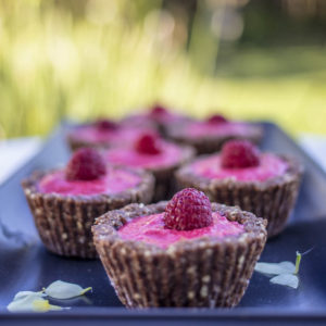 Raw Rasperrby Tarts with a Cacao Nut Base - Delcious and full of flavour, so easy to make. Gluten Free, Vegan, & Refined Sugar Free.