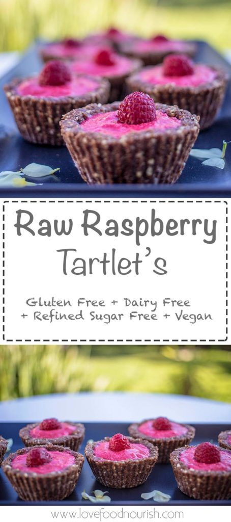 Raw Raspberry tartlets - These delivious raw tartlets are bursting with delicious raspberries, they require no baking and are very simple to prepare. This healthy raw vegan dessert is a delicious treat for adults and kids. Gluten free, dairy free, sugar free dessert.