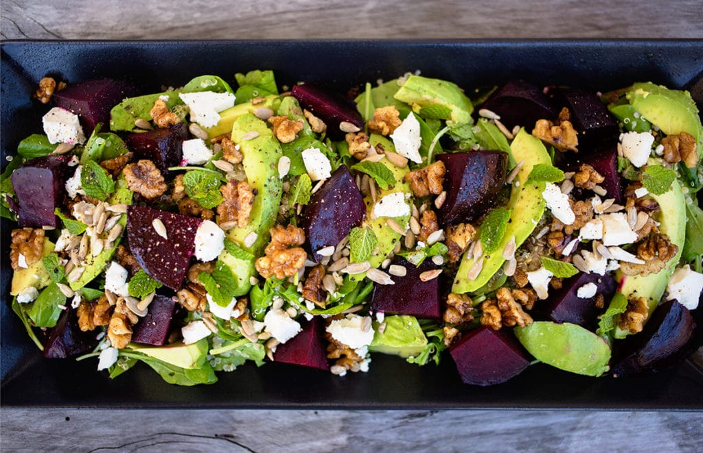 A colorourful, tasty and healthy salad that is full of flavour. Gluten free with Vegan Option.