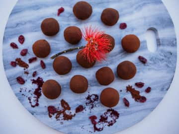 Decadent, rich, bittersweet and chocolatey - Yum these raw vegan cranberry and chocolate truffles can be whipped up in 15 minutes. Gluten free, refined sugar free, dairy free, vegan, paleo.