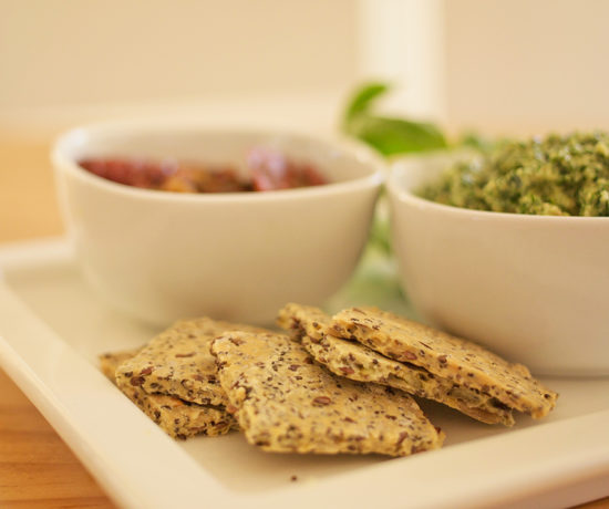 Extra Crunchy Chia and Flaxseed Crackers - A tasty gluten free version of a traditional cracker, perfect to go with your favourite pesto or dip.