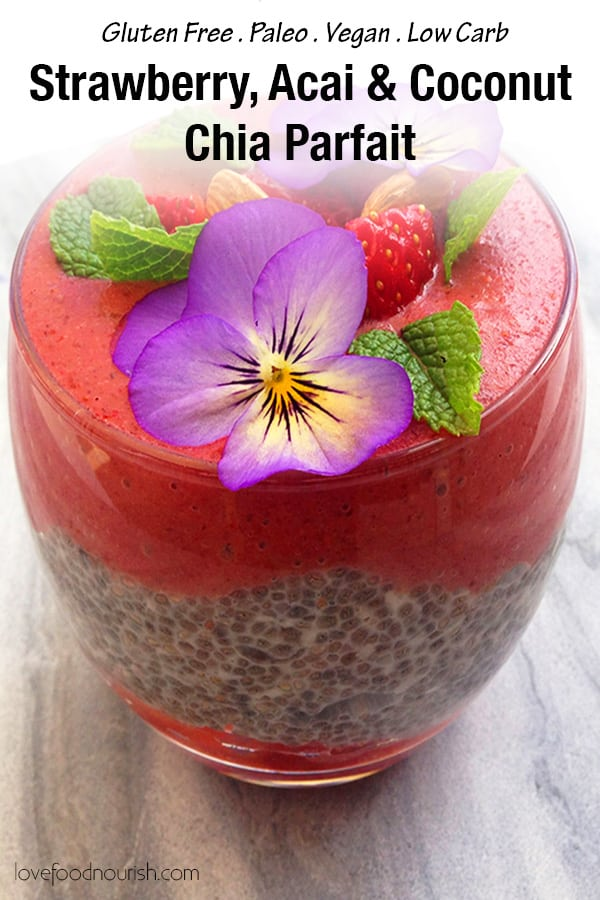 A delicious layered chia parfait or chia pudding with a creamy coconut chia layer, fresh strawberries & a smooth strawberry, acai & banana layer. This makes a fresh and tasty paleo breakfast treat or a healthy paleo dessert. #paleo #chiaseeds #chiapudding #vegan #glutenfreebreakfast #dairyfree #glutenfree #veganbreakfast #dairyfreebreakfast #strawberries #smoothie #paleobreakfast #lowcarb #lowcarbrecipes #paleorecipes