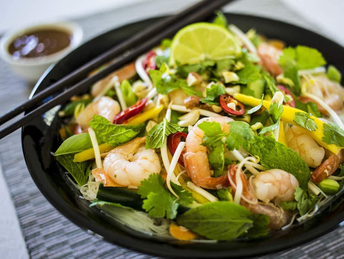 Vietnamese Summer Roll Salad with Spicy Peanut Dressing - Love Food Nourish