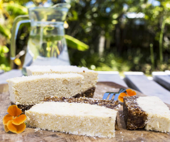 Raw Pina Colada Slice - A delicious slice full of the tropical flavours of pineapple, creamy coconut and lime. Gluten Free, Dairy Free, Refined Sugar Free, Vegan.