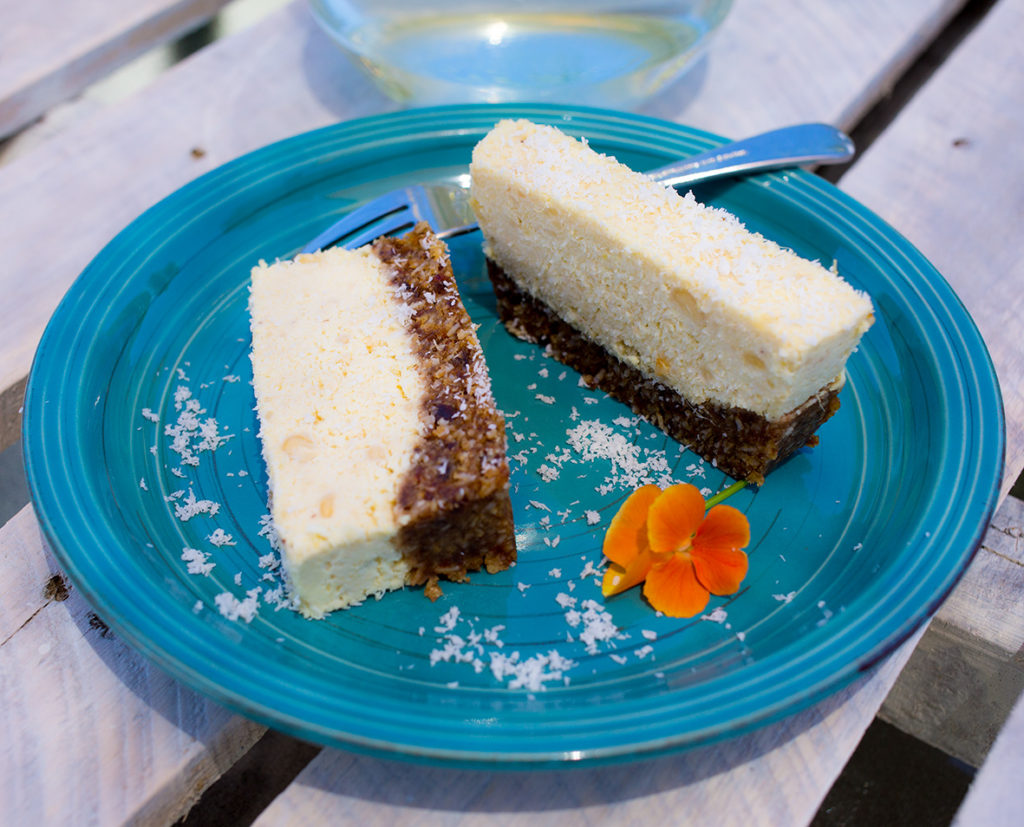 Close up of pineapple and coconut slice on a plate