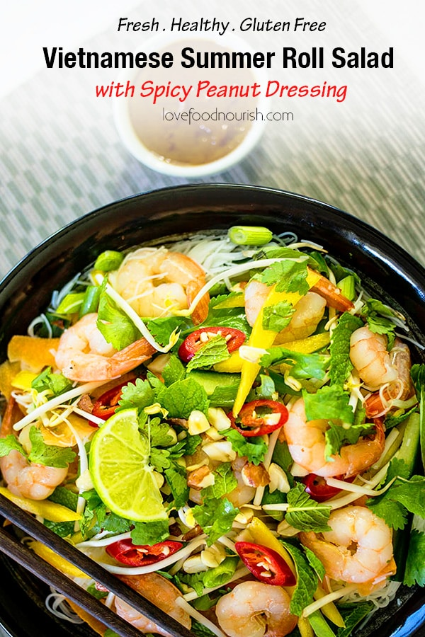 A delicious Vietnamese shrimp (prawn) salad that is fresh, fragrant and easy to make. Inspired by Vietnamese summer rolls with a spicy peanut dressing. #vietnamesesalad #asiansalad #glutenfree #shrimpsalad #prawnsalad #asianfood #glutenfreedinner