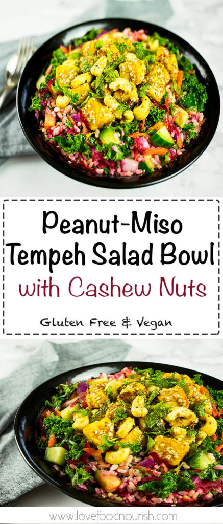 Peanut-Miso Tempeh Bowl with Cashew Nuts - A hearty, healthy and delicious salad that will leave you satisfied. Gluten Free & Vegan.