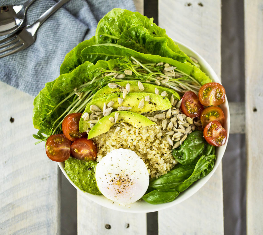 Quinoa Breakfast Bowl with Poached Egg, Avocado & Pesto