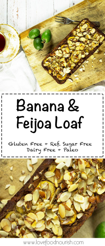 Banana & Feijoa Loaf - A delicious loaf that is naturally sweet, topped with honey glazed feijoa and almonds. Gluten free, refined sugar free, dairy free, paleo.