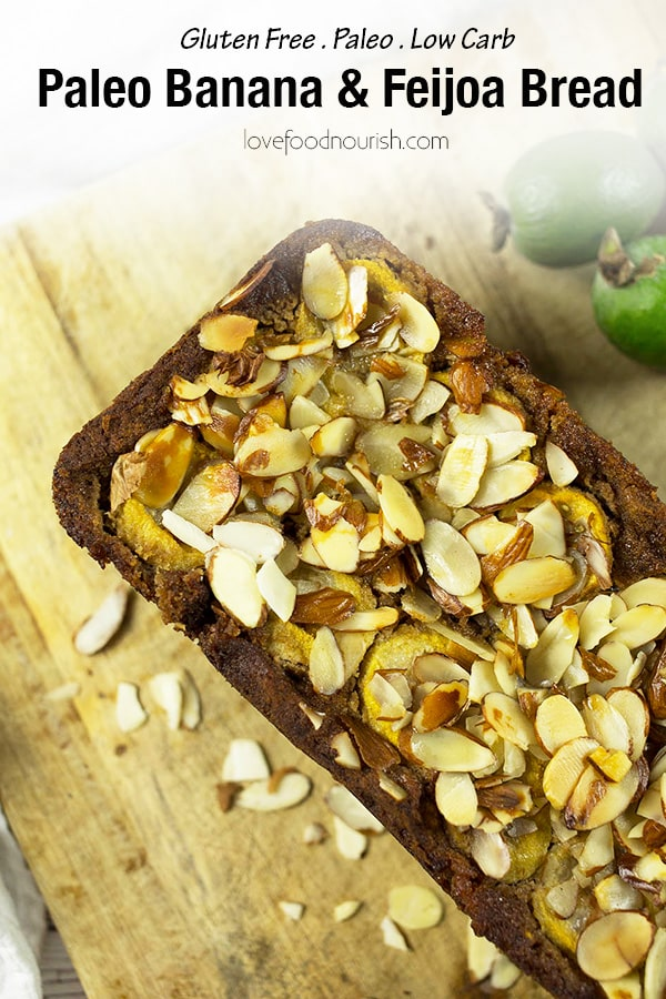 Easy to make Paleo Banana & Feijoa Bread - This bread has a natural sweetness from the bananas that goes nicely against the sharp feijoas. This low carb bread is gluten free and easy to make! It makes an easy paleo snack or paleo breakfast. #paleorecipes #bananabread #glutenfreerecipes #lowcarb #cleaneating #glutenfreerecipes #glutenfree