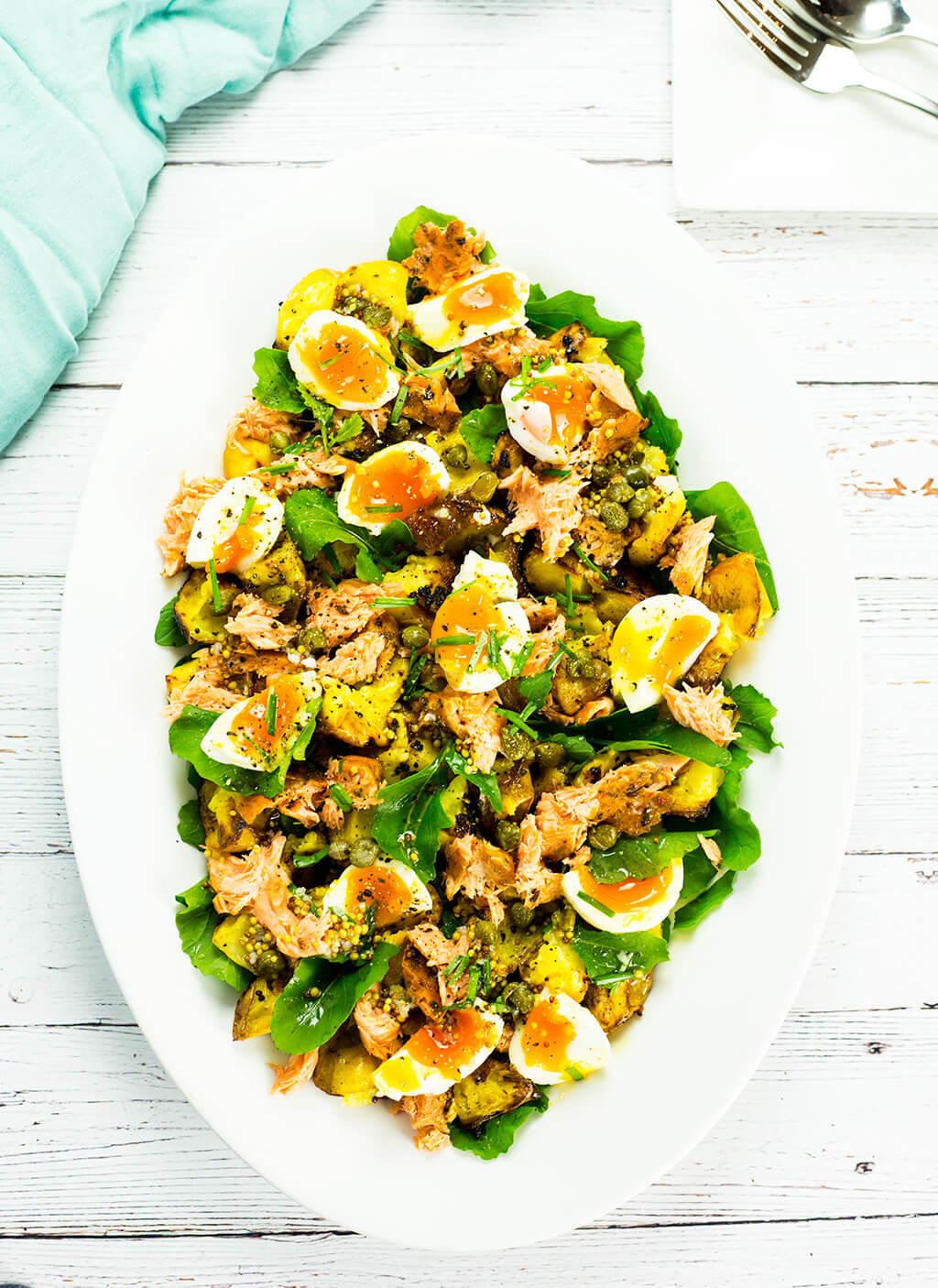 Hot Smoked Salmon Salad with Egg & Mustard Potatoes