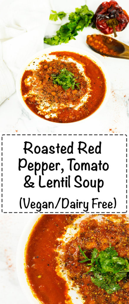 Roasted Red Pepper, Tomato and Lentil Soup - A nourishing vibrant vegan soup that tastes delicious. Vegan, dairy free, gluten free.