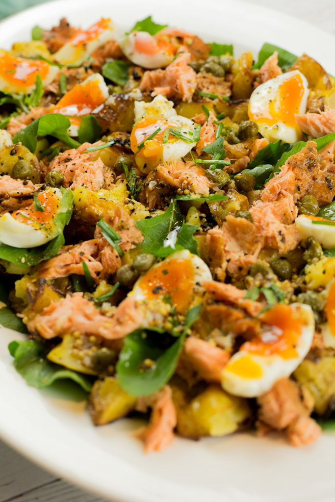 Close up of Hot smoked salmon salad.