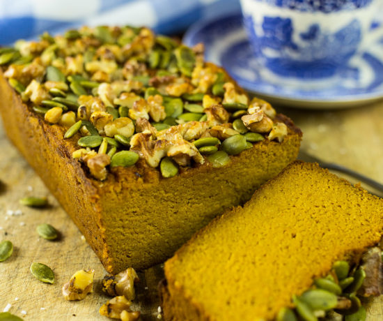 Spiced Paleo Pumpkin Bread with slice of bread cut