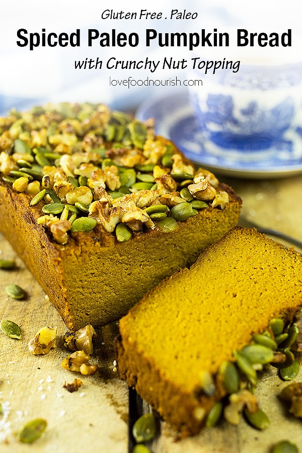 Spiced Paleo Pumpkin Bread – A delicious moist paleo and gluten free pumpkin bread that is naturally sweet, has a hint of warming spices, topped off with crunchy pumpkin seeds and walnuts. #paleo #glutenfree #glutenfreebaking #paleobaking #pumpkin #pumpkinbread #paleosnacks #paleopumpkinbread #glutenfreepumpkinbread