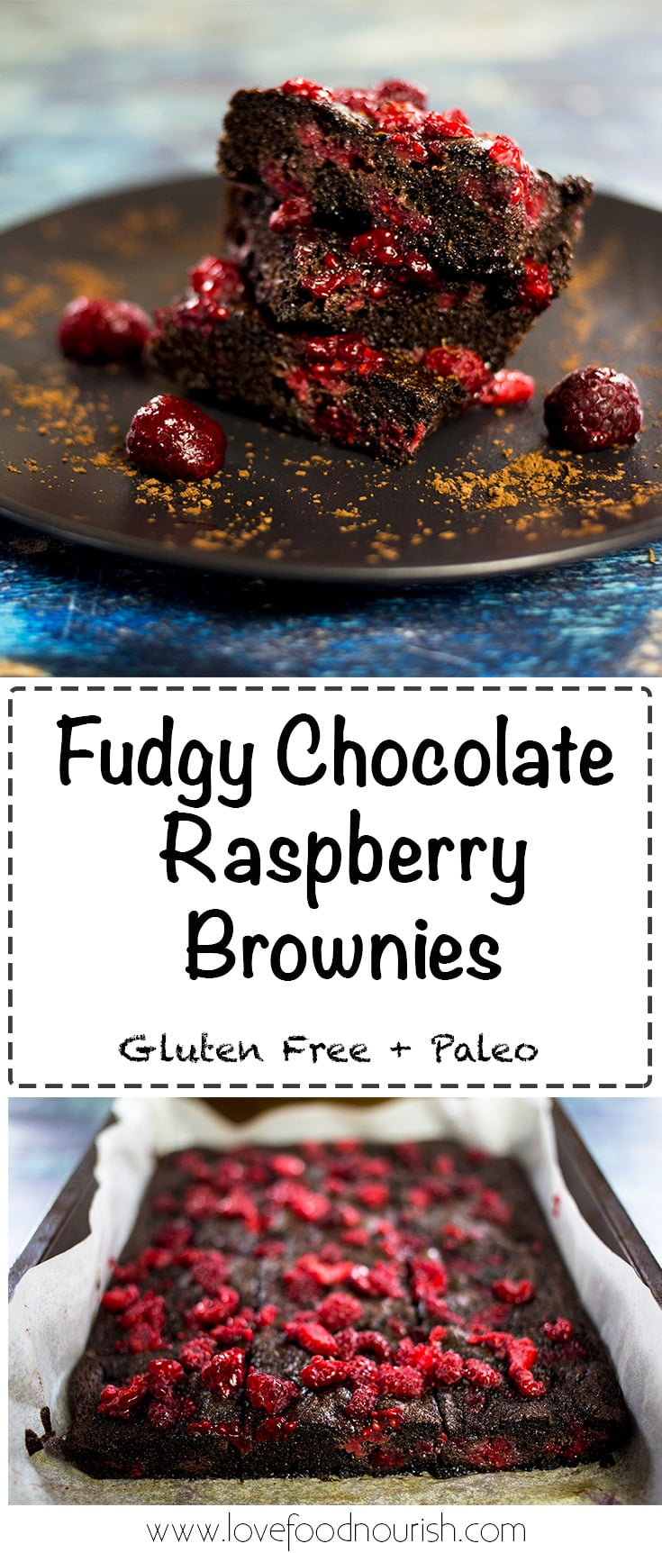 Chocolate Raspberry Brownies (Gluten Free & Paleo) - These fudgy, moist, chocolatey brownies are everything you ever wanted in a brownie. The chocolatey goodness goes perfectly against the sharpness of the raspberries. They are gluten free, grain free, plaleo and refined sugar free. Gluten Free Recipe | Paleo Recipe
