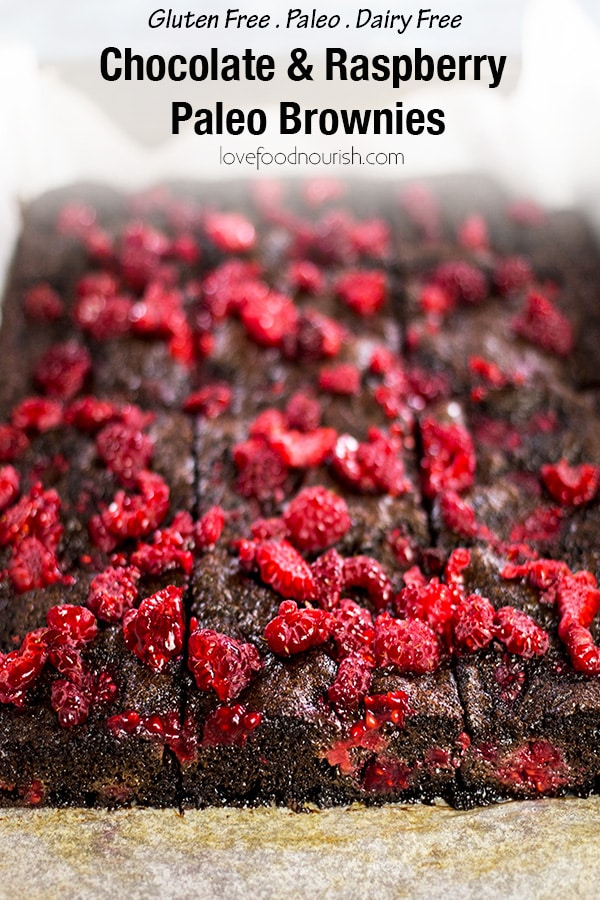Chocolate Raspberry Brownies (Gluten Free & Paleo) - These fudgy, moist, paleo chocolate brownies are everything you ever wanted in a brownie. The chocolatey goodness in these gluten free brownies goes perfectly against the sharpness of the raspberries. #chocolatebrownie #paleobrownie #paleochocolatebrownie #raspberries #chocolateraspberrybrownie #brownies #paleobaking #glutenfreebaking #chocolate