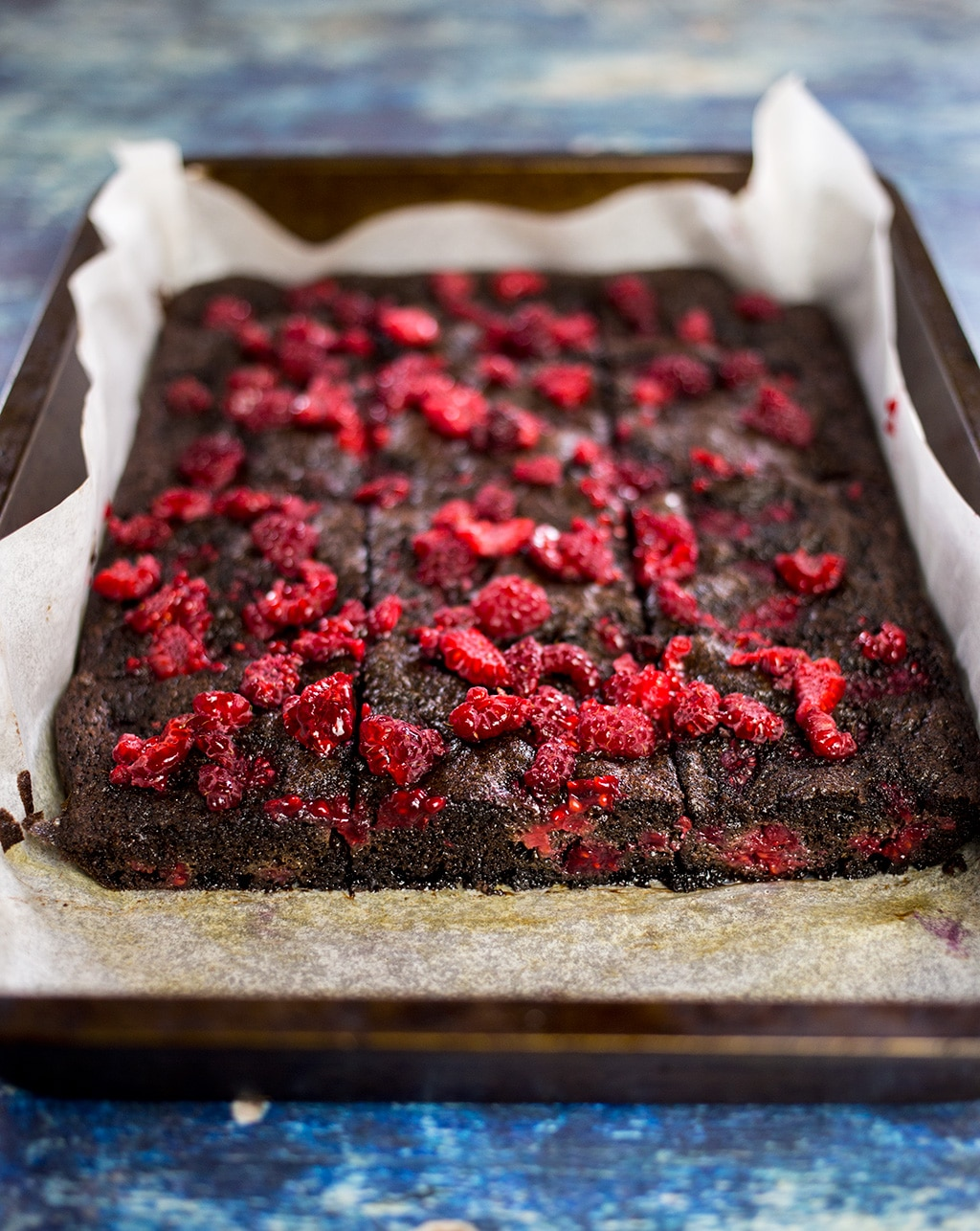 Paleo Chocolate Raspberry Brownies in Baking Tray