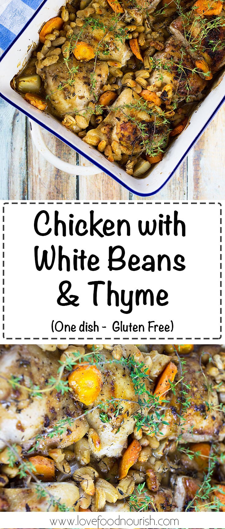 Chicken with White Beans and Thyme - A simple rustic one dish chicken meal that is full of flavour. #glutenfree #glutenfreedinner #onepan #dairyfree