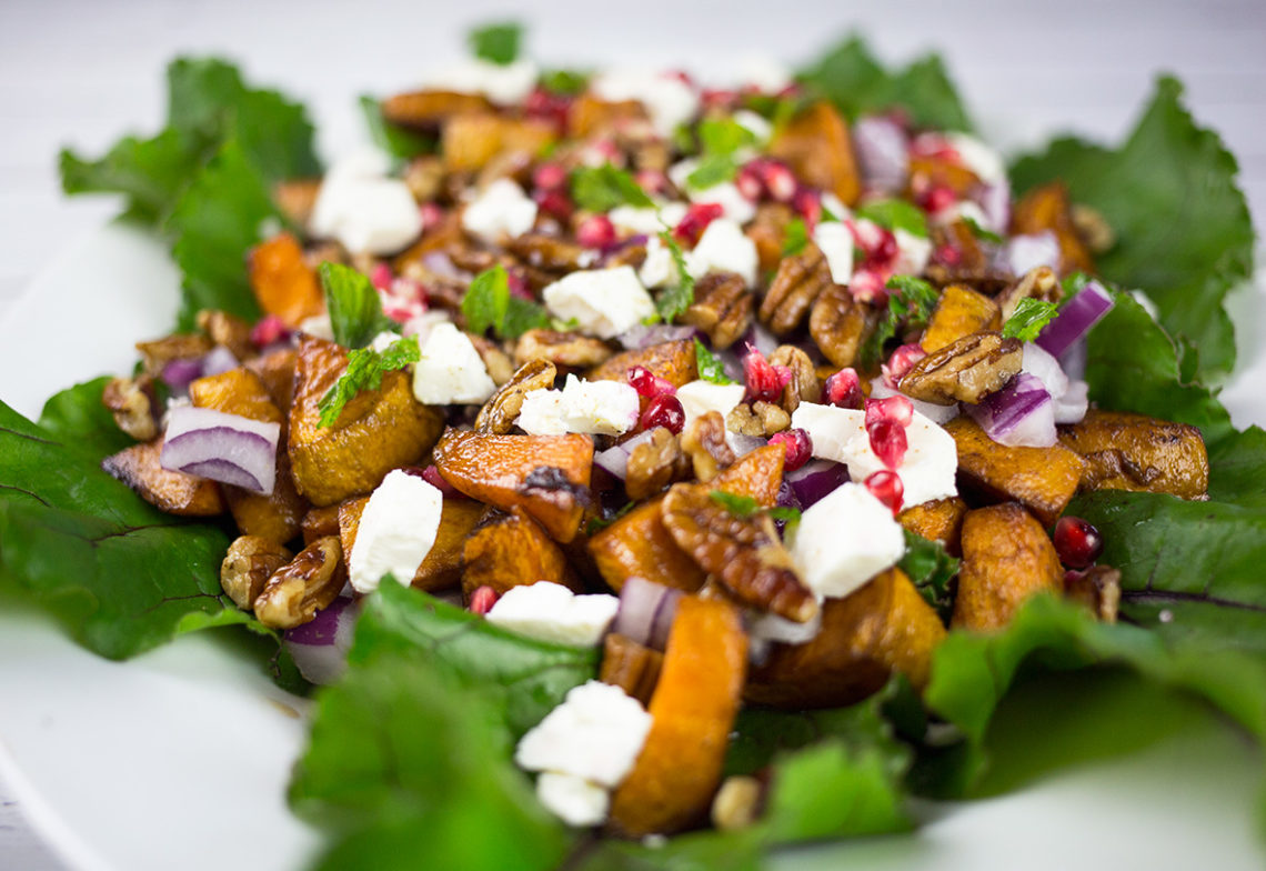 Roasted Sweet Potato Salad with Feta and Pomegranate