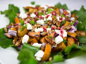 Roasted Sweet Potato Salad with Feta and Pomegranate