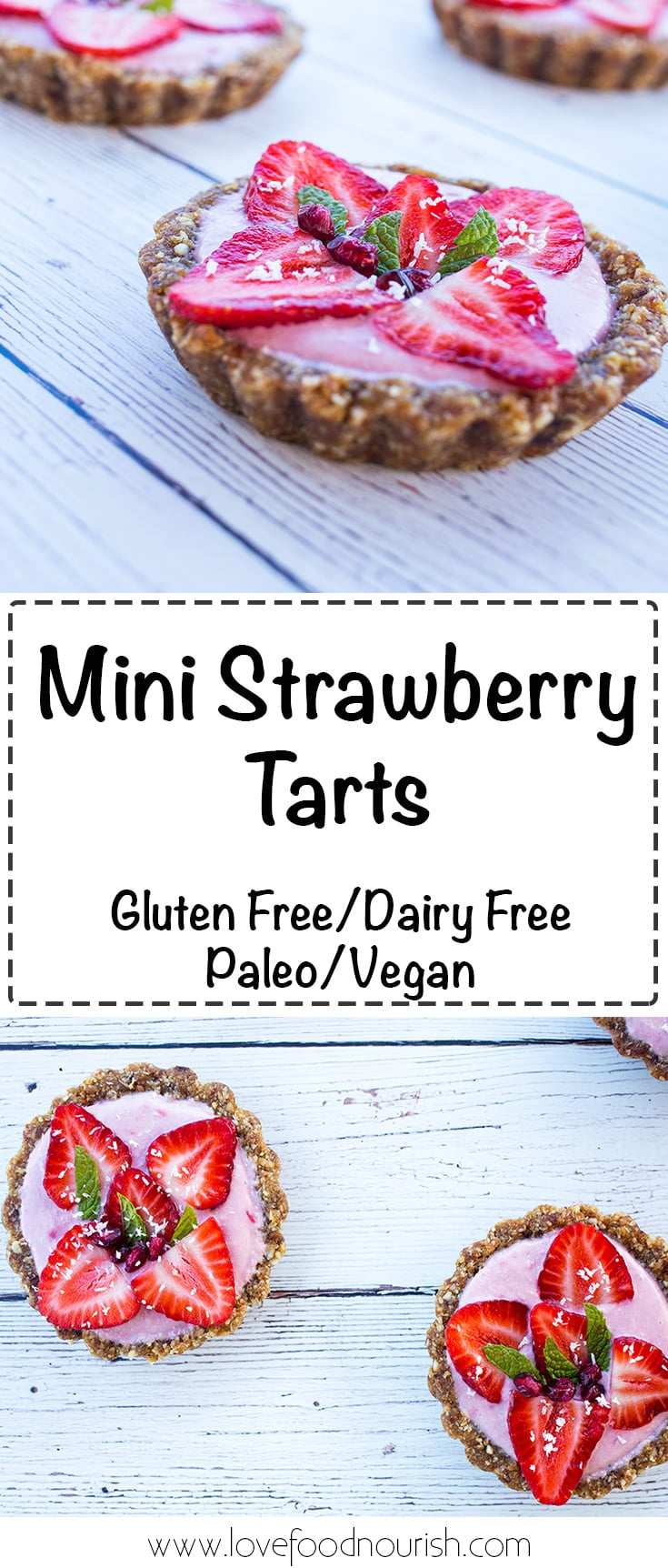 Mini Strawberry Tarts - Fresh, fruity & creamy these gluten free & paleo strawberry tarts are full of fresh strawberry flavor. No baking required! #paleo #paleodessert #vegan #gluten free #glutenfreedessert #strawberries #tart #dairyfree
