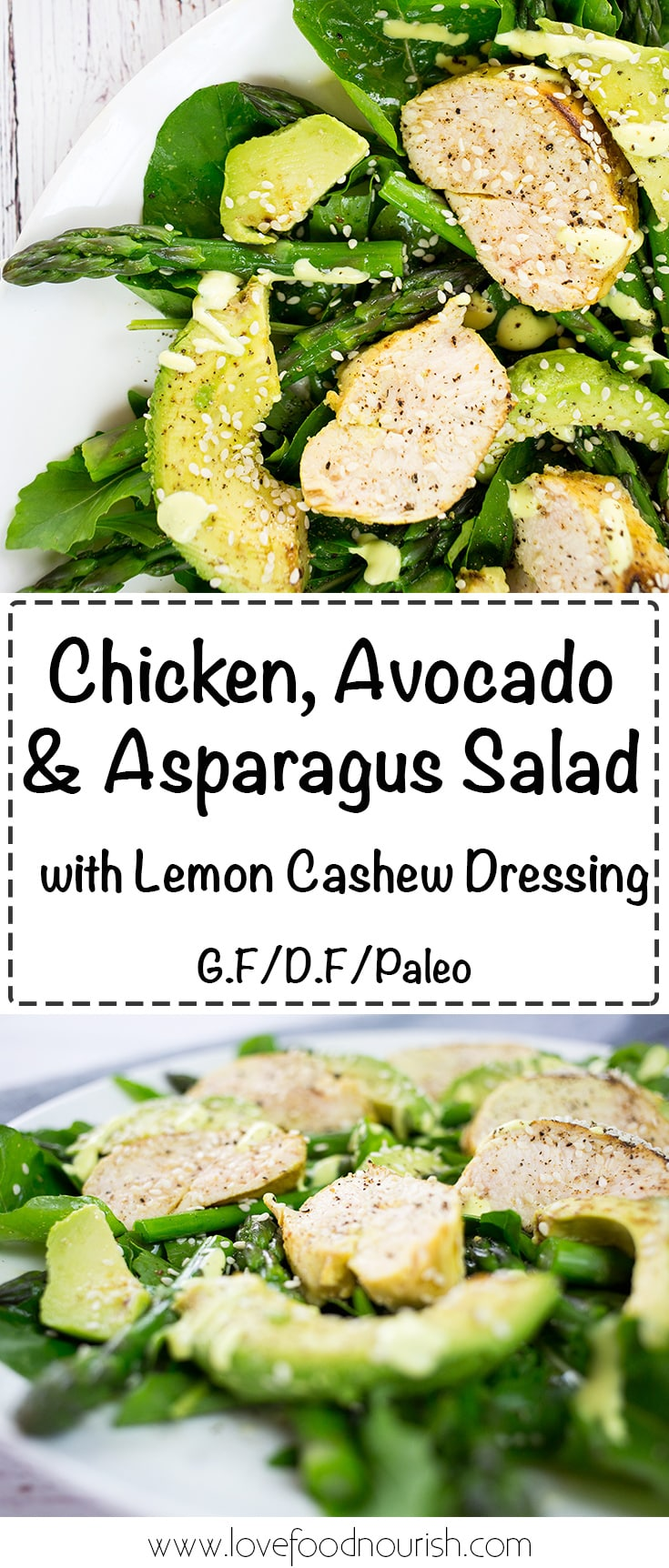 Chicken, Avocado & Asparagus Salad with Lemon Cashew Dressing - A healthy and fresh chicken salad with a creamy dairy free lemon dressing. #paleo #glutenfree #dairyfree #chickensalad #avocado #chicken #salad