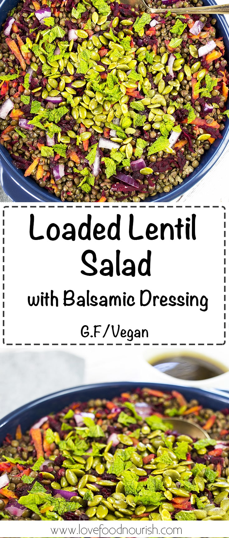 Lentil Salad loaded with antioxidant rich veggies and a delicious balsamic dressing. #glutenfree #vegan #lentils #salad