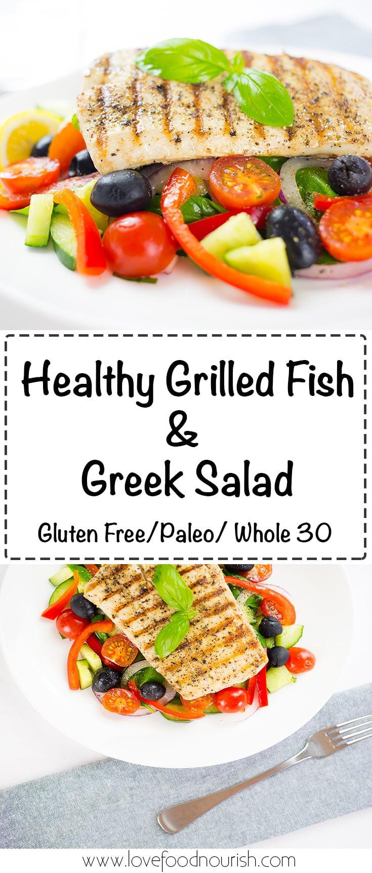Healthy Fish Salad with grilled fish and a tasty greek salad. #fishsalad #greeksalad #paleo #whole30 #glutenfree #healthydinner