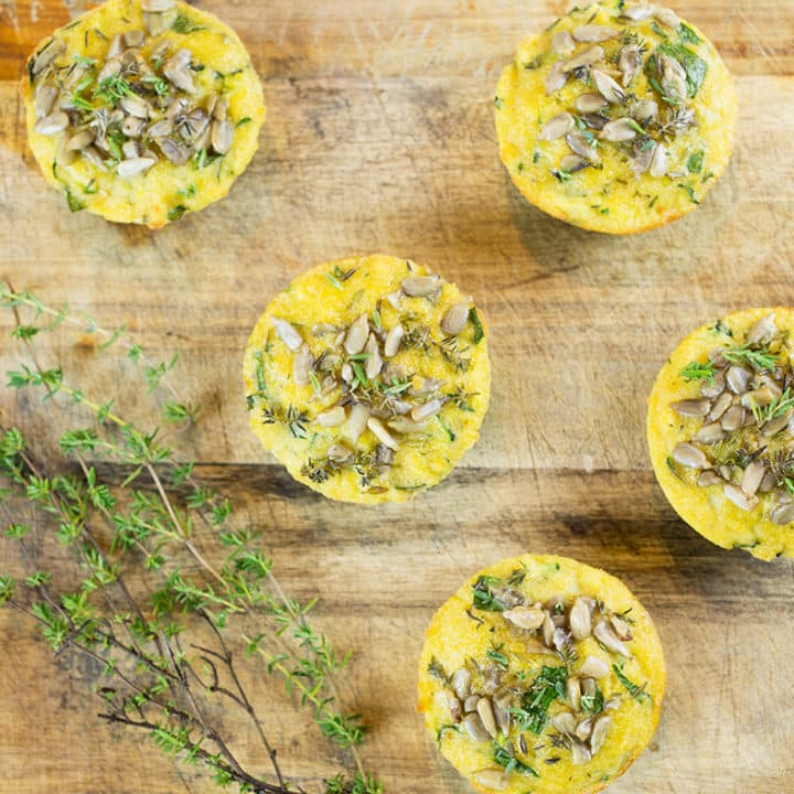 Gluten Free Savoury Muffins with thyme on chopping board
