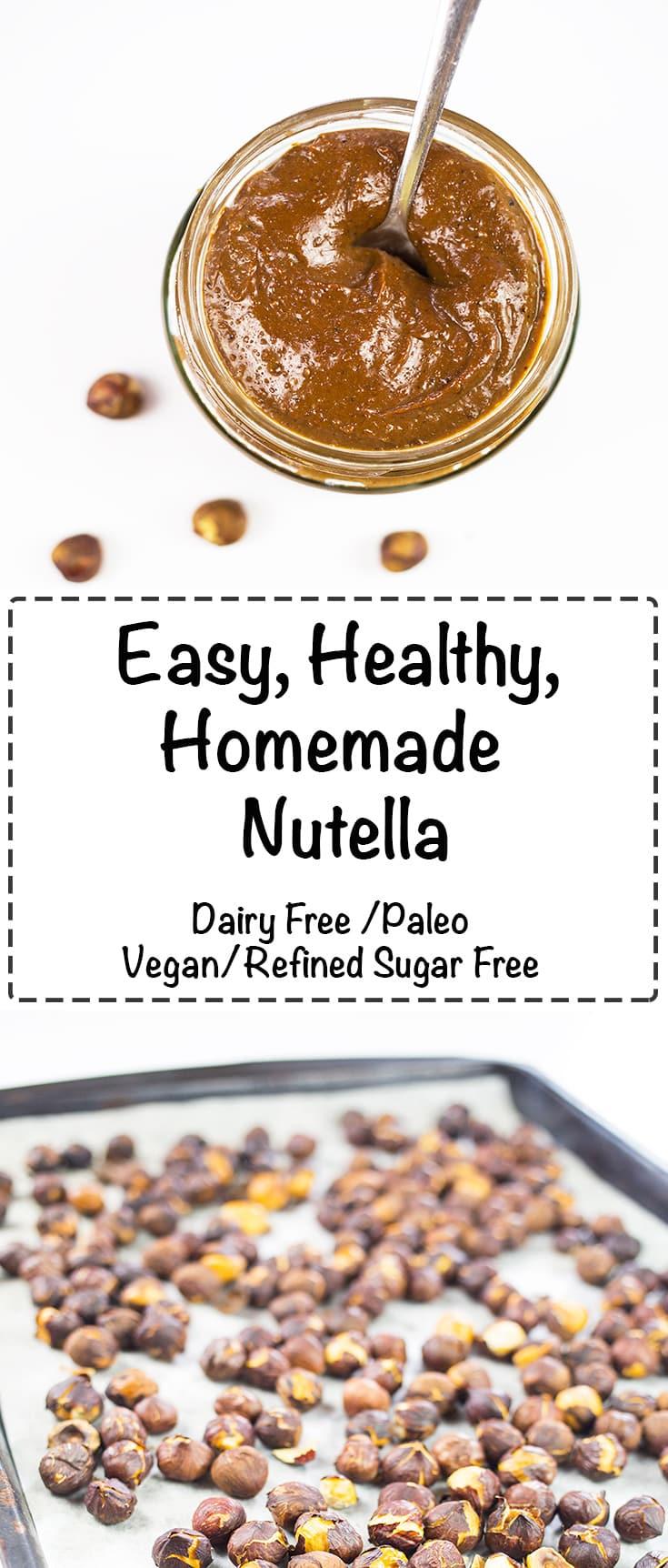 Homemade Nutella - Easy, Healthy and Tasty! #paleo #vegan #dairyfree #nutella #refinedsugarfree #chocolate